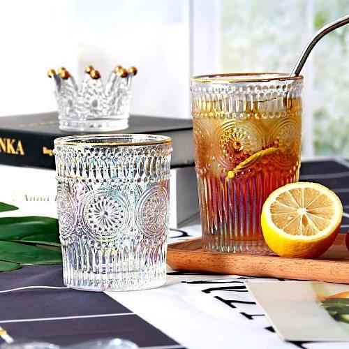 Transparent Glass Heat-Resistant Water Cup Coffee Cup Embossed Phnom Penh Sun Flower Breakfast Tea Beer Cup Decoration Wine Glas
