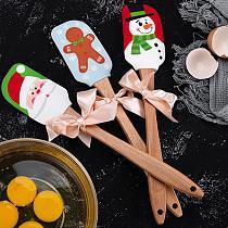 Santa Claus Snowman Gingerbread Man Print Silicone Butter Spatula Beech Wood Handle Kitchen Baking Tool Christmas Gift