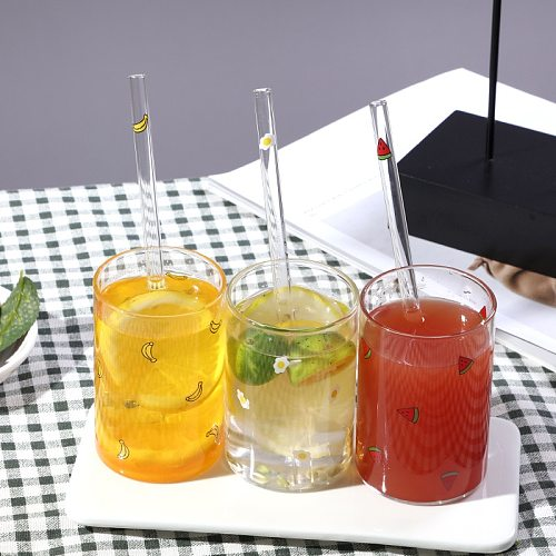 Cute Fruit Printed Glass Mug Cup Heat-resistant Milk Juice Glass Water Cup with Straw Beer Coffee Cup Whiskey Lemon Tea Mugs