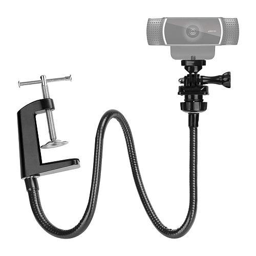 Webcam Stand Enhanced Durable Desk Jaw Camera Clamp Bracket with Flexible Gooseneck for Logitech Webcam