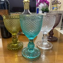 Mini Diamonds Relief Wine Glass Goblet Cup 2 pcs / lot Color Retro Juice Drinking Cup Spirits Wedding Party Wine Glasses 300ml