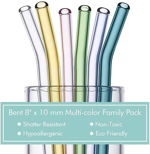 8.5 x8mm Reusable Glass Straws Set Multi-Color Glass Healthy Eco Friendly Drinking Straws for Cocktail Smoothie Milkshake