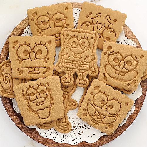 3d Cookie Cutters Plastic SpongeBobs Creative Cartoon Biscuit Mold Household Baking Diy Fondant Grinding Tool Press Baking Mold