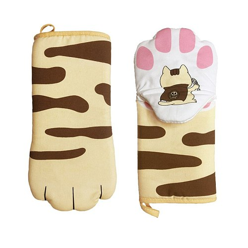 3D Cat Paws Kitchen Oven Mitts Cartoon Long Sleeves Microwave Heat Resistant Non-slip Gloves Cotton Baking Insulation Gloves