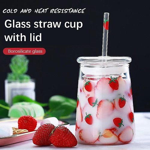 600ml 650ml Water Bottle with Straw Cute Water Bottle Glass Strawberry Large Capacity Heat-resistant Cup with Lid Glass Bottle