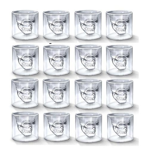 NoEnName_Null Skull Head Cup 25ML Double Transparent Shot Glass Beer Whiskey Vodka Wine Water Champagne Cocktail Wine Mugs