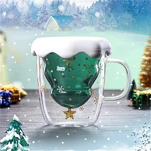 Creative Double-Layer Glass Christmas Tree Star Water Cup High Temperature Mug glass Christmas tree star wishing cup 300ml LS*D