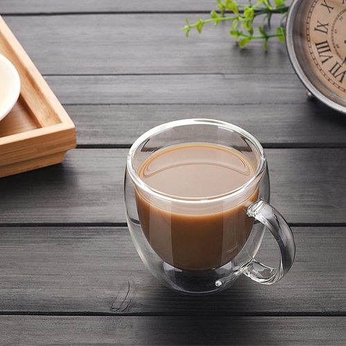 150ml Double Wall Glass Handle Cup Coffee Beer Heat Cold Resistant Drinkware