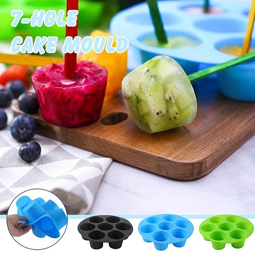 7 Holes Silicone Muffin Cake Cups Baking Black Muffin High Quality Molds Air 3.5-5.8 Fryer Pan Fit Airfryer Cupcake Accessories