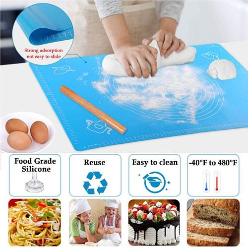 50*40CM Silicone Kneading Mat Non-slip Baking Silicone Mat Kitchen Tool Rolling Pins Pastry Boards