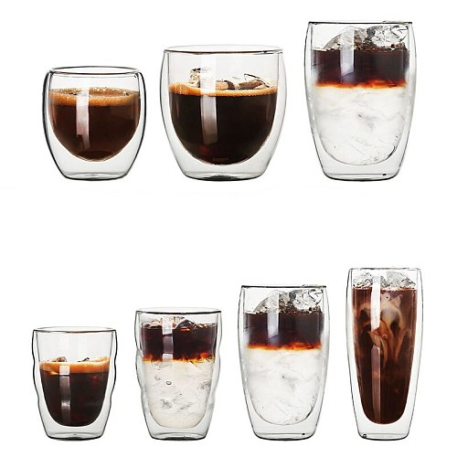 Borosilicate Walled Coffee/Tea/beverages Glasses Cup Shot Glass - Double Wall Insulated Latte Glass Espresso Coffee Mugs