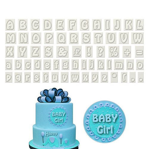 64 Characters Upper&Lower Case Alphabet Letters Set Cookie Cutter Sugarcraft Baking Cake Mold Plastic Cookie Cutter Fondant Tool