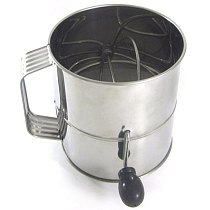 Fine Sieve Cup Easy Clean Stainless Steel Rotating Flour Colander Pastry Cocoa Baking Tool Hand Crank Sifter Mesh