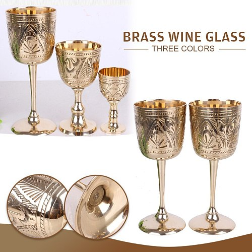 1Pcs 35/80/180ml Vintage Copper Engraving Flower Pattern Wine Goblet Water Cup Chalice Buddha Altar Drinking Wine Cup