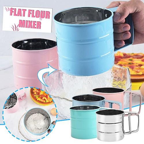 Handheld Flour shaker Stainless Steel Mesh Sieve Cup Icing Sugar Bake Tool Semi-automatic Cake Utensils Cocoa Powder Baking Tool
