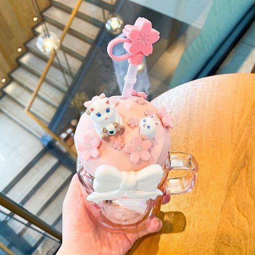 Cute Small Breakfast Milk Coffee Mug Cup Outdoor Sakura Glass Coffee Mug Travel Drinkware Taza De Cafe Glass Mugs Coffee Cups