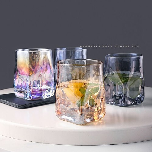 2PCS Creative Square Hammered Whiskey Glass, Heavyweight  Water Glass,Water Cup, Juice Glass Wine Glass Drinking Cup Set of 2