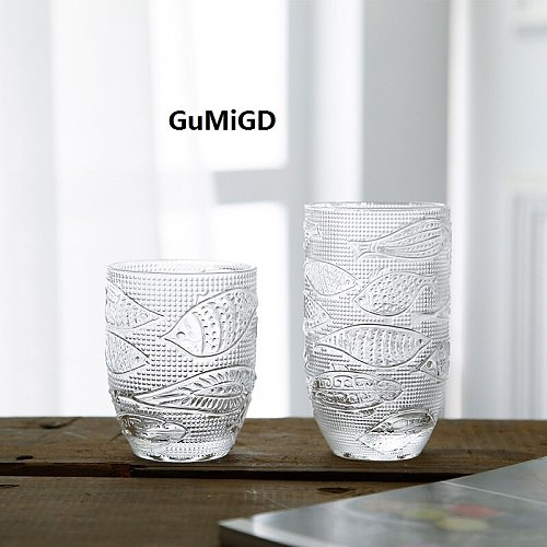 Retro glass fish glass cup home lemon cup drinking glass