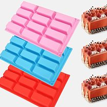 12 Holes Cake Fondant Chocolate Soap Mould Rectangle Shaped Silicone Mold Biscuit Cookie Baking Pan Kitchen Bakeware Accessories