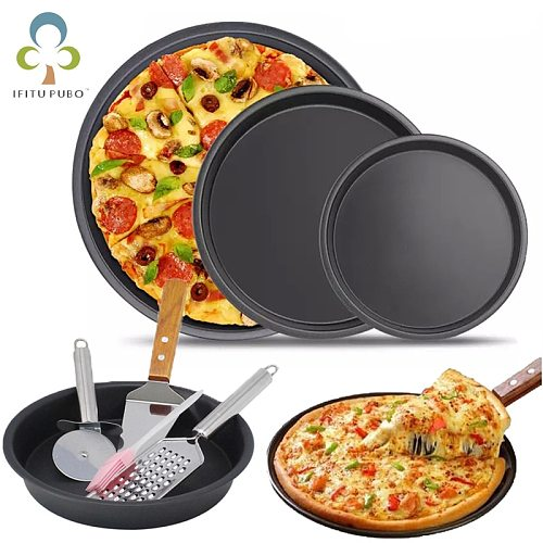 6/8/9/10 inch Round Pizza Plate Pizza Pan Deep Dish Tray Carbon Steel Non-stick Mold Baking Tool Baking Mould Pan Pattern ZXH