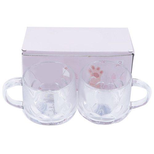 2PCS Cartoon Cute Cat Paw Coffee Mug Decorative Home Office Thick Glass Latte Mug Milk Cup with Handle