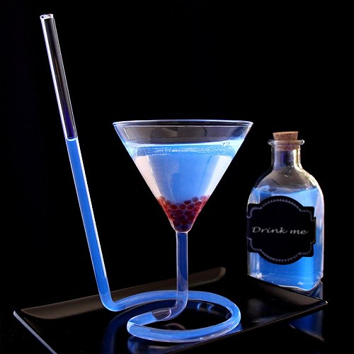 Creative Screw Spiral Straw Molecule Cocktail Glass Bar Party Triangle Goblet Martini Champagne Coupes Vaso Wine Glasses Charms