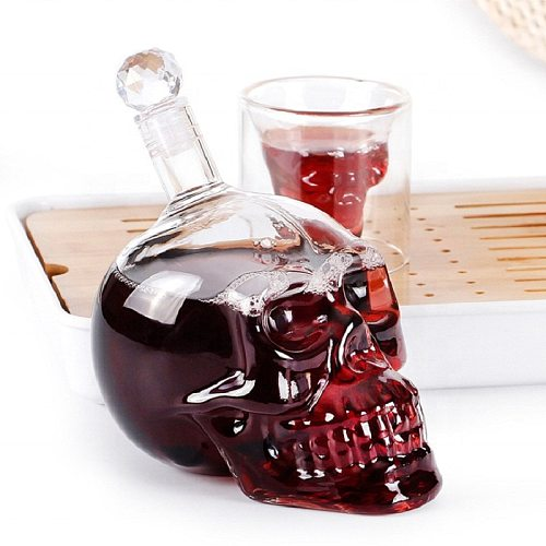 Crystal Skull Head Bottle Creative Whiskey Vodka Wine Decanter Bottles Whisky Beer Glass Spirits Water Club Bar Home Cups Glass