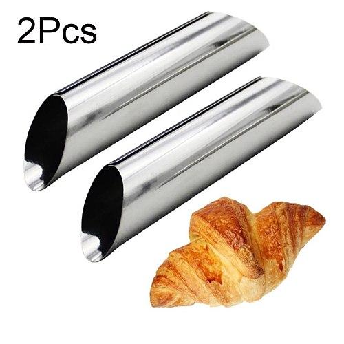 2Pcs Dessert Non Stick Danish Bread Cannoli Croissant Mold Bake Tubes Decor Puff Cone Danish Big Spiral Croissant Mould#40