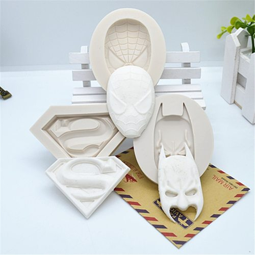 3PCS Super Hero 3D Silicone Mold,Fondant Cake Mold,Face Resin Molds for Cake Decorating Tools Kitchen Baking Accessories FM961