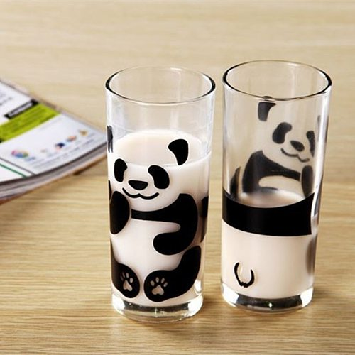 Home Daily Cute Panda Glass Milk Cup Coffee Mug Lead-Free Office Couple Water Cups Kitchen Tableware Breakfast Mugs Without Lid