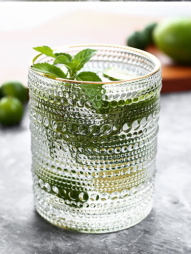Free Shipping Vintage Beaded Water Glass,Iced Beverage Glass,Double Old Fashion Glass, Cocktail Glass