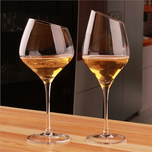 Bevel Clear Red Wine Cup Oblique Red Wine Glass High Foot Glass Ordinary Wine Glass Burgundy Cup Beer Cup Drinking Glasses