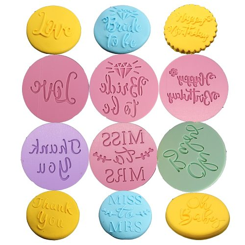 Food Grade Plastic Cookie Mold Happy Birthday Thank You Letter Embossed Cutter Stamp Mold Love Cupcake Fondant Decoration Mold