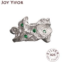 925 Sterling Silver Korean Vintage Ring For Women Tin Foil Green CZ Female Handmade Opening Finger Fashion Jewelry Couple