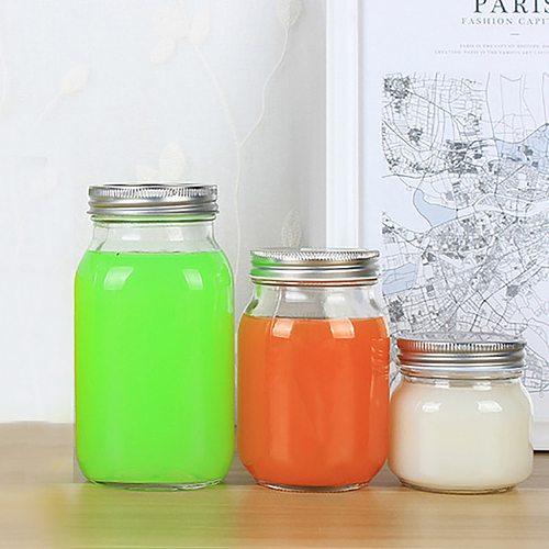 S/m/l Mason Jar Glass Cup Beverage Mug With Lid Straw Summer Ice Cream Fruit Cold Drinking Jars Juice Cup Gifts Icecream Jar #yj