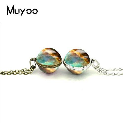 2018 New Space Nebula Double Sided Pendant Nebula Charm Necklace Glass Dome Photo Pendants Necklaces Hand Craft Jewelry