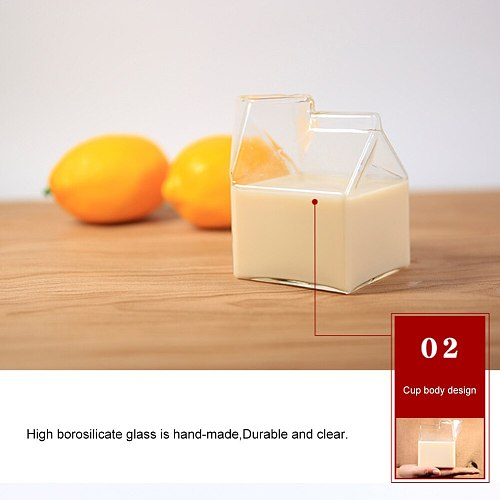 Creative Cream Bottle Square Mugs Wine Milk Glass Cup Home Kitchen Tableware for Household Kitchen Easy Supplies