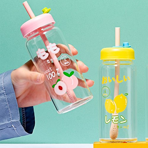Water bottle cute fruit straw creative student couple transparent glass water cup cup with lid juice drink water cup gift office