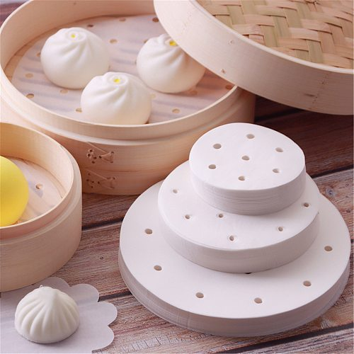 100Pcs baking paper Air Fryer Liners Perforated Wood Pulp Papers Non-Stick Steaming Basket Mat Baking Cooking Kitchen Accessor
