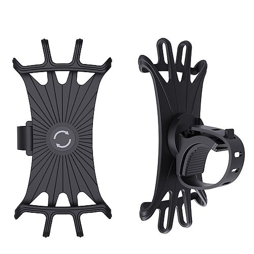 1PC Universal Car Bike Motorcycle Mobile Phone Stand Holder Silicone Non-slip Buckle Pull Phone Mount Handlebar Bracket