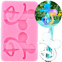 Disney Mickey Head Letters D Straw Topper Silicone Mold DIY Chocolate Fondant Cake Decorating Tools Keychain Epoxy Resin Mould
