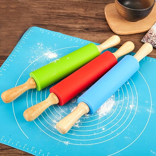 1pcs  Non-Stick Wooden Handle Pin Pastry Dough Flour Roller Silicone Rolling Kitchen Baking Cooking Tools Christmas Rolling Pin