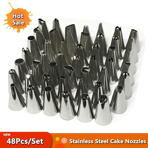 48Pcs/Set Stainless Steel Icing Piping Cake Nozzles Russian Pastry Decorating Tips Baking Tools For Cake Dessert
