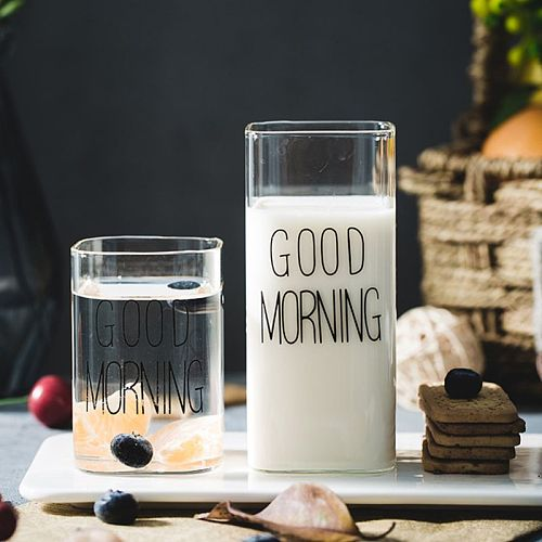 Fashion Letter Juice Cup Creative Square Glass Cup Milk Coffee Cup  250ml/370ml