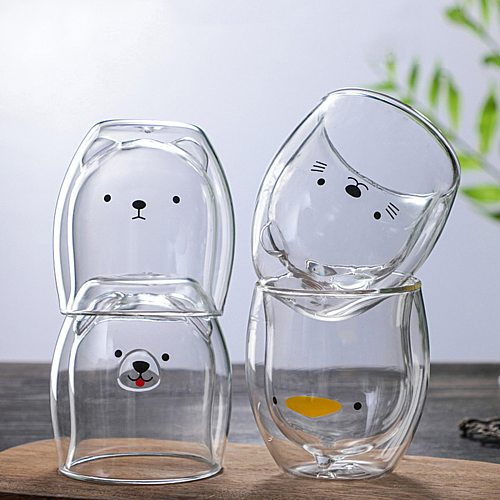 Cute Bear Shaped Double Wall Glass Mug Prevent Scald Cartoon Lovely Double Glass Milk Coffee Cup With Round Mouth Drinkware