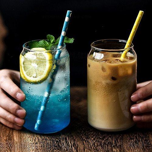 Creative Glass Cup Can Shape Tea Juice Milk Coffee Mug Wine Glass Drink Cup High Borosilicate Glass Durable Drinkware New Style