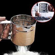 High Quality Stainless Steel Mesh Flour Sifter Mechanical Baking Icing Sugar Shaker Sieve Cup Shape Bakeware Baking Pastry 1.10