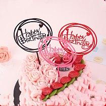 1PC/happy birthday cake topper Supplies Acrylic Baking cake Insert Decor Cupcake wedding Birthday Party Decoration Cake Top Flag
