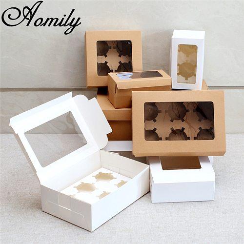 Amoliy 2/4/6/12 Holes Cupcake Packing Box Muffin Box Biscuit Pastry Box Kraft Paper Box Cake Chocolate Packaging Baking Tools