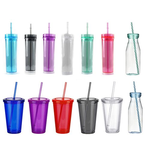 Creative Straw Cup Sequined GlitterColorful Coffee Juice Straw Mug Simple Plastic Bottom Outdoor Portable Drinking Bottle Cups